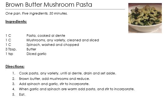 brown butter mushroom pasta recipe card