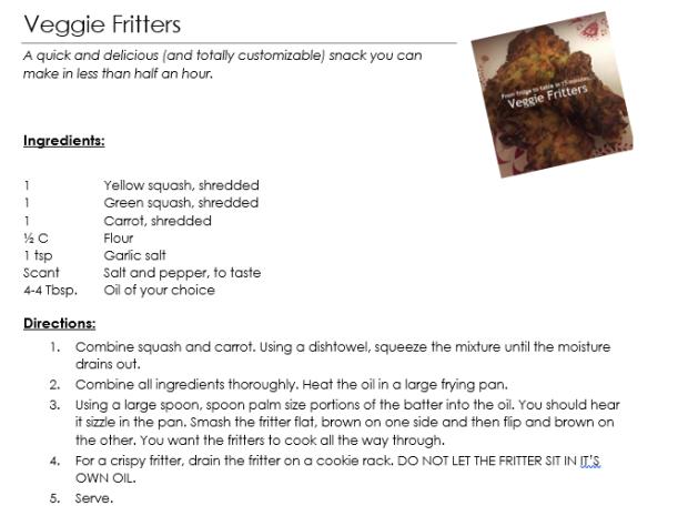 veggie fritter recipe